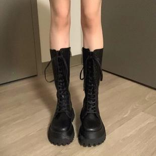 黑色机车靴2021春夏季 款 透气厚底中筒马丁靴女长筒骑士靴小腿靴子