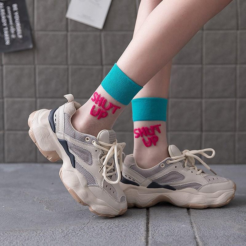 袜子女ins潮水晶袜中筒夏季薄款街头运动夏天长筒袜透明玻璃丝袜