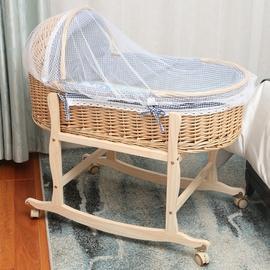 新生婴儿小摇篮床可摇晃老式竹编藤编悠悠床夏天便携式手提篮摇窝