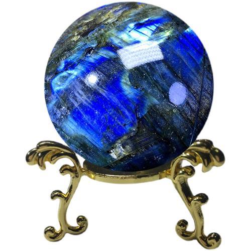 高档天然拉长石球水晶球灰月光原石蓝光彩虹沉稳坚定助运能量疗愈