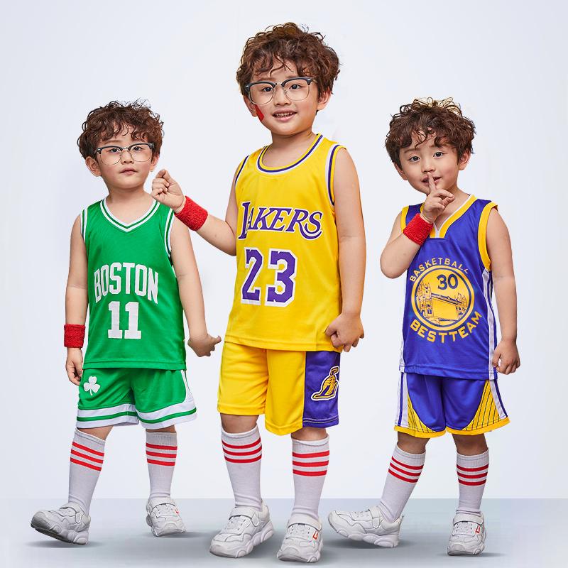 儿童篮球服套装湖人詹姆斯科比库里小学生男女孩宝宝运动训练球衣图片