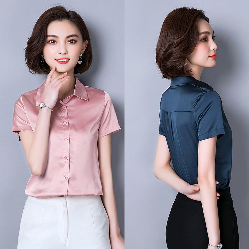 。新款职业真丝衬衫上衣重磅桑蚕丝女士衬衣宽松短袖T恤