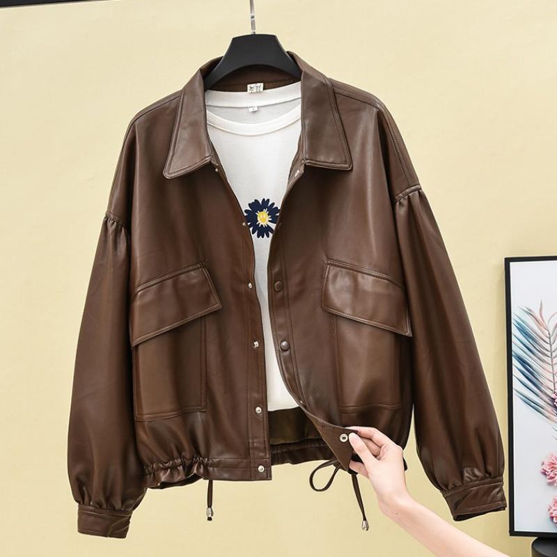 Short PU leather jacket for women autumn winter 2020 new loose BF retro Hong Kong Style hem jacket
