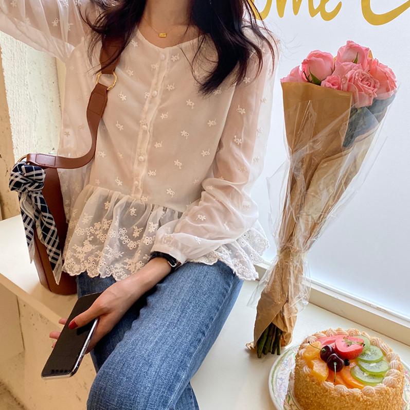 复古chic刺绣雪纺衬衫女长袖春季上衣韩版百搭显瘦甜美宽松娃娃衫