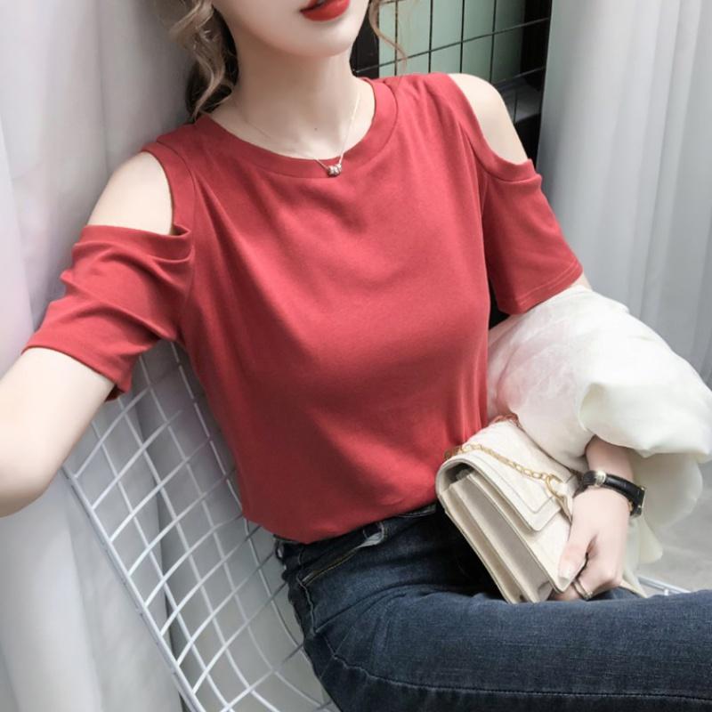 心机露肩小性感欧洲站短袖T恤女装2020年夏季新款洋气上衣欧货潮