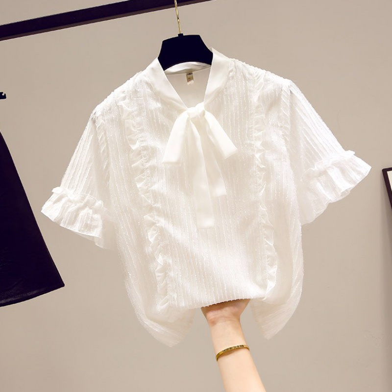 Chiffon Shirt Short Sleeve womens summer 2020 new lace top white shirt Xianqi fashion small shirt
