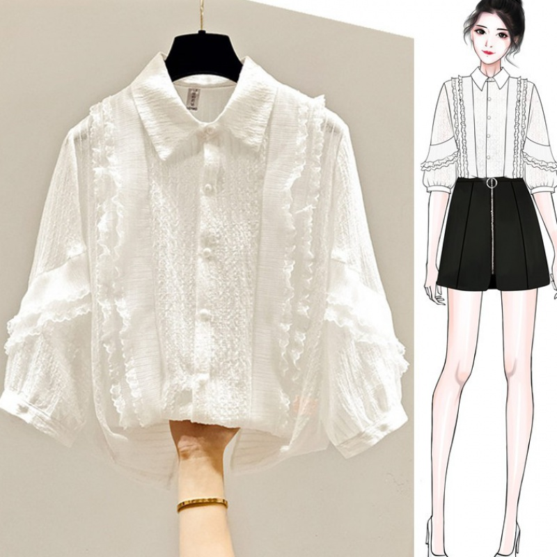 2020 new summer womens Short Sleeve Chiffon shirt lace top white shirt waistband small shirt
