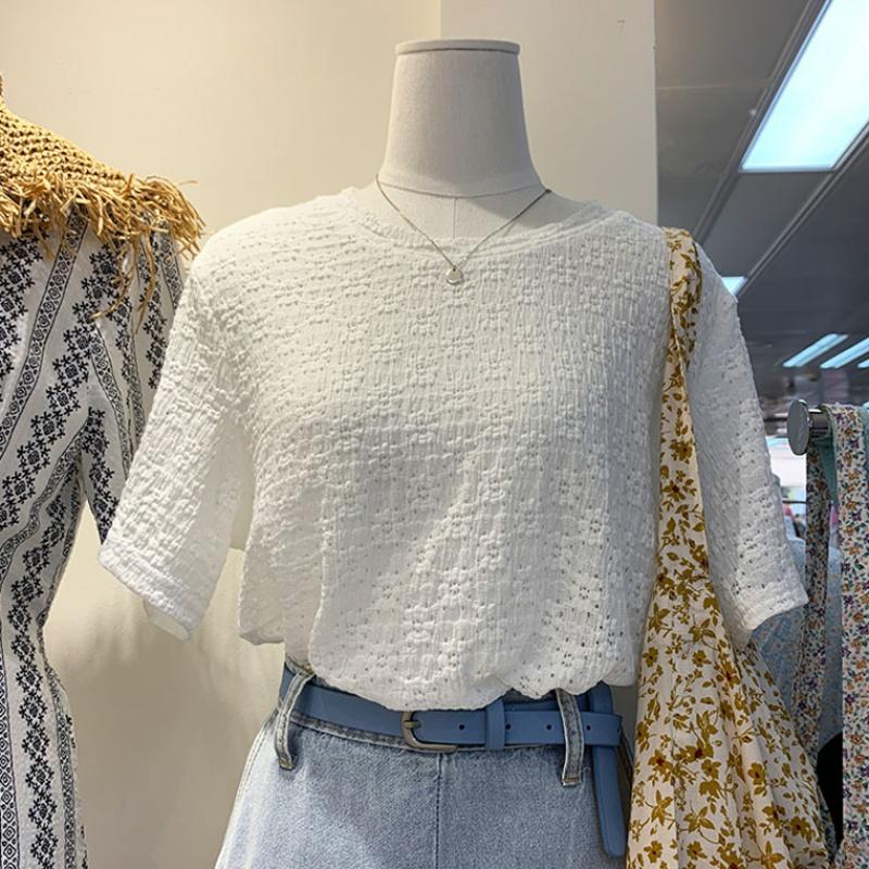 韩国东大门2020新款甜美上衣女夏立体花朵褶皱镂空显瘦短袖T恤潮