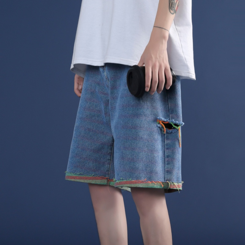 2020 perforated denim shorts womens summer loose 2020 new Korean high waist loose color contrast show thin wide leg pants