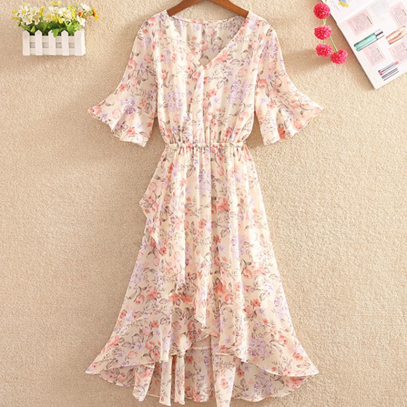 New style Ruffle irregular high waist thin print dress womens sweet summer Chiffon floral skirt short sleeve