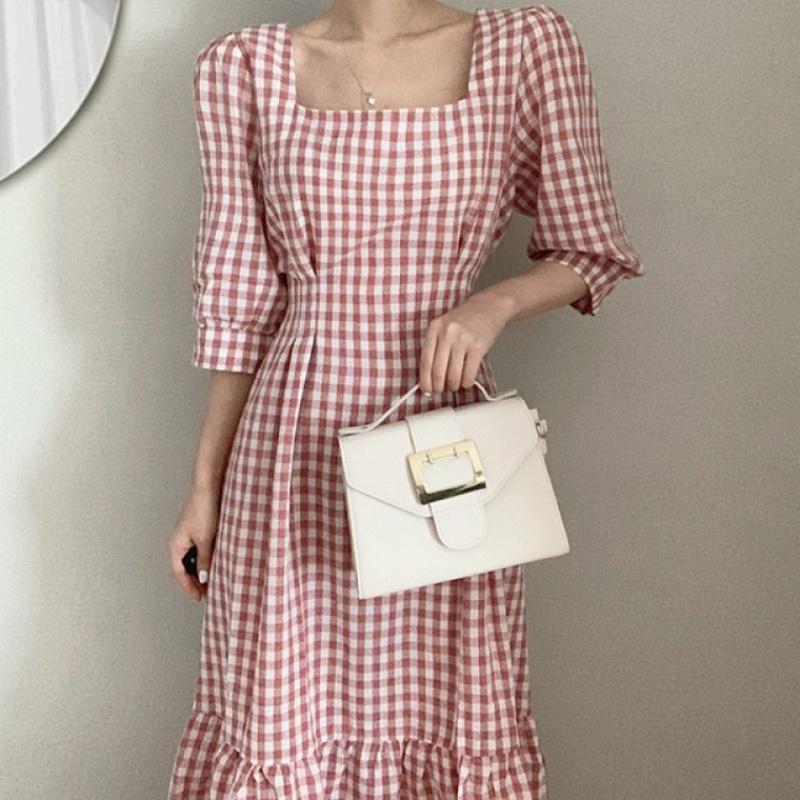 Korean Chic French minority retro style elegant square collar Plaid lantern sleeve length over knee fishtail dress
