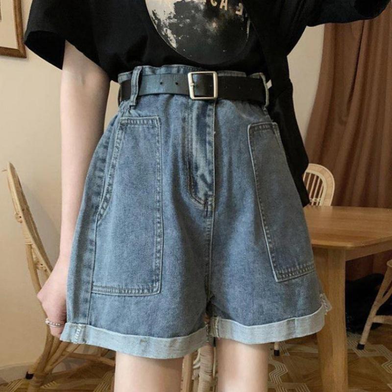 2020 new summer elegant style high waist loose jeans shorts women fashion ins thin hot pants show thin wide leg pants