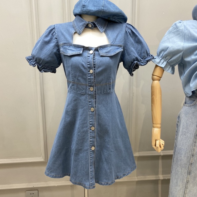 Small denim short skirt with heart design, hollow lapel, bubble sleeve, A-shaped dress, womens 2020 summer skirt