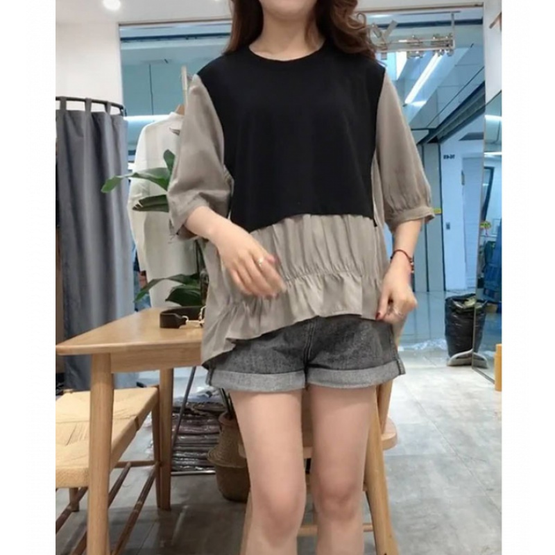 Korean half sleeve fake two T-shirt womens 2020 summer loose show thin pleated patchwork shirt thin short sleeve top
