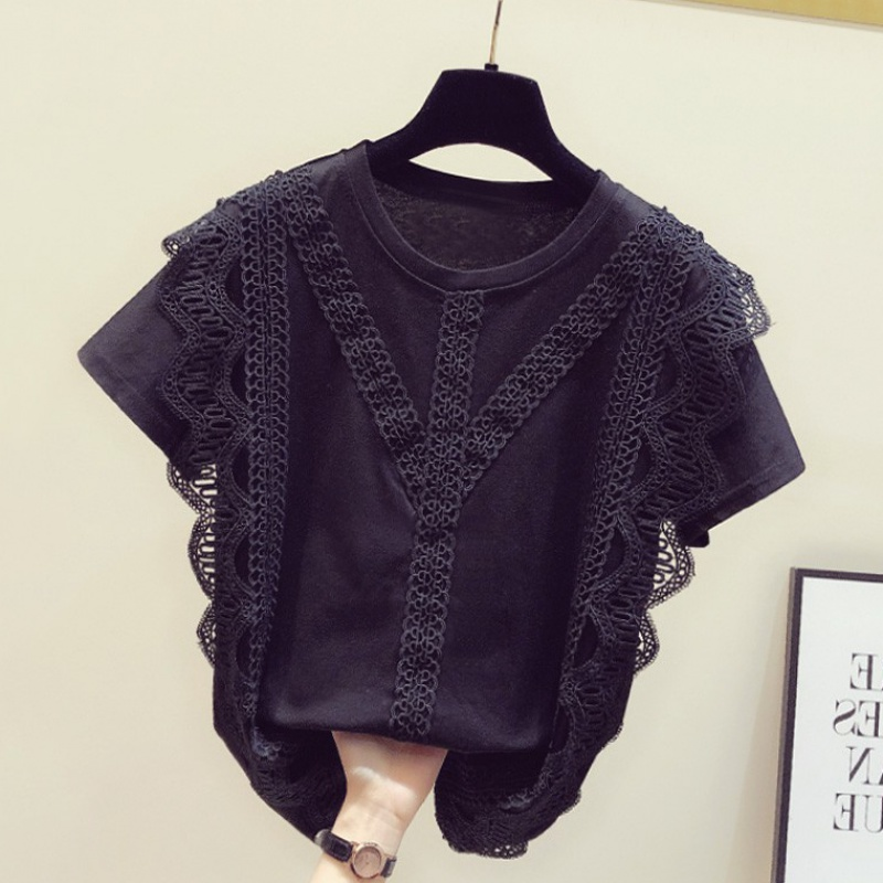 2020 summer new Korean lace lace up short sleeve black T-shirt womens round neck casual versatile top fashion