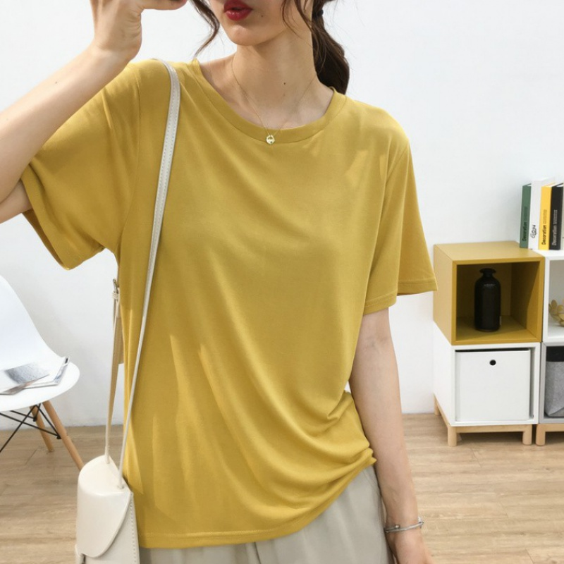 Silky and draping copper ammonia short sleeve T-shirt for womens summer and Korean version