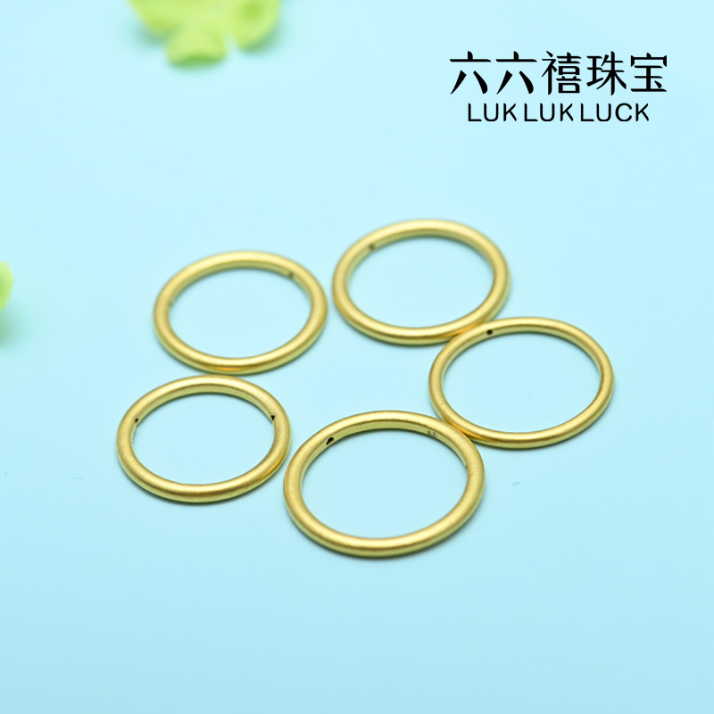 Six six years old, three lives, three lives gold ring, womens fine full gold diaphragm, authentic 3D hard gold plain ring for wife