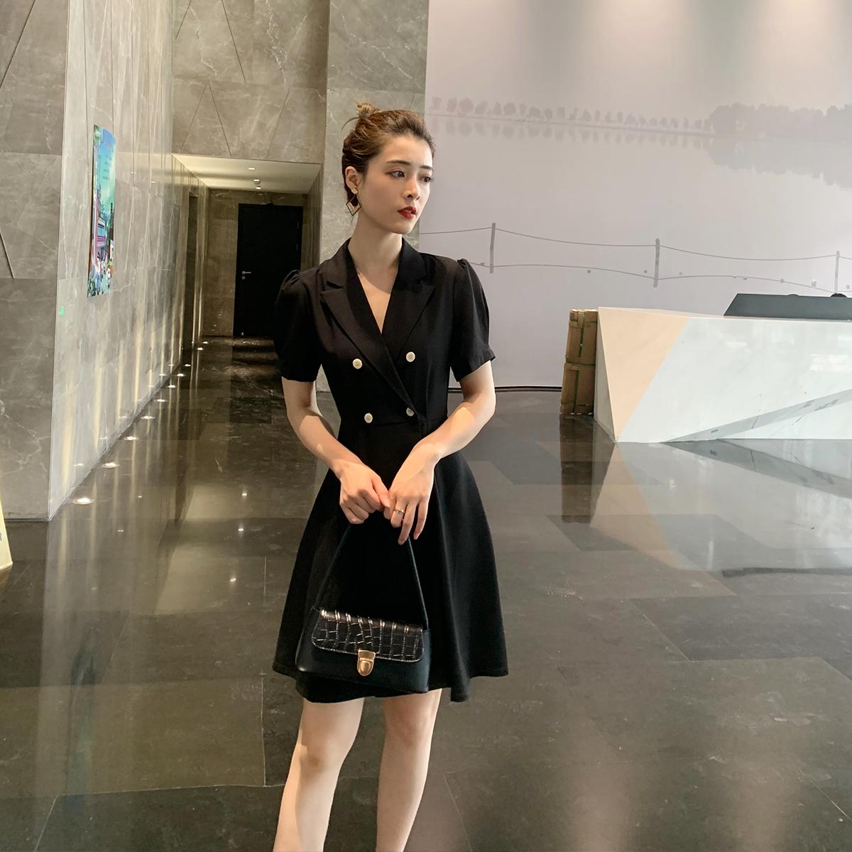 YY STUDIO 夏时雨 文艺气质清新法式复古时尚优雅西装连衣裙女夏
