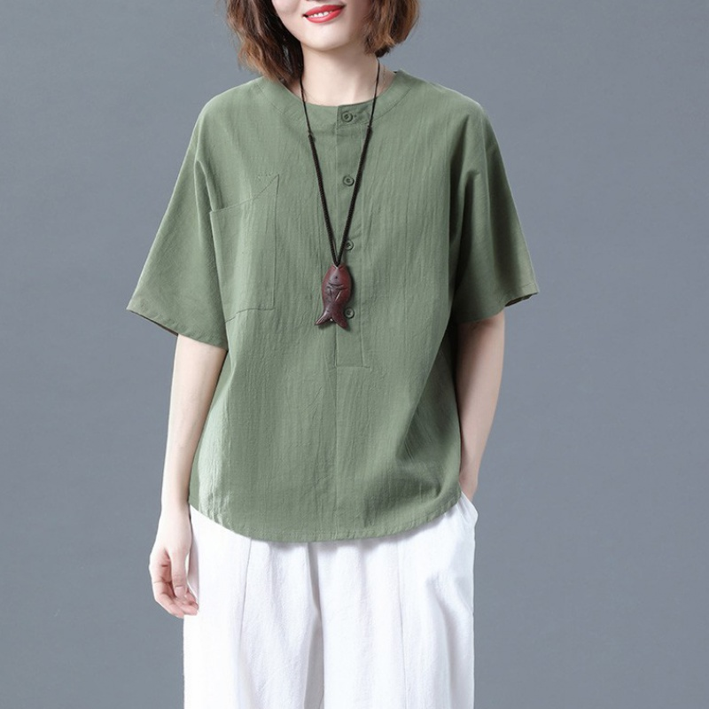 Cotton hemp short sleeve T-shirt womens summer literature and art RETRO loose large size slim solid color casual versatile Linen Shirt Top