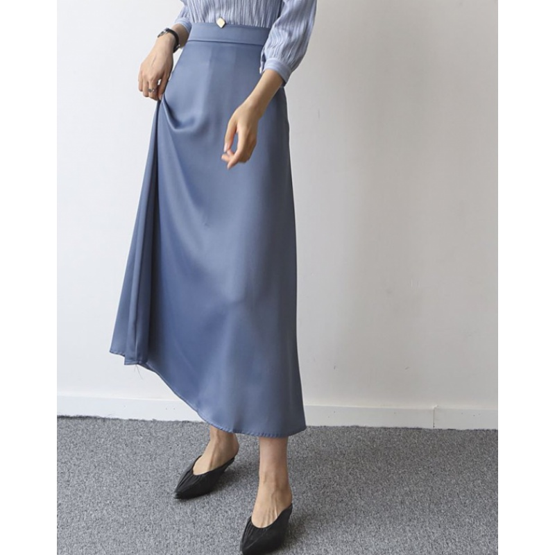 Matte Satin skirt womens high waistline slim silk elegant blue A-line skirt