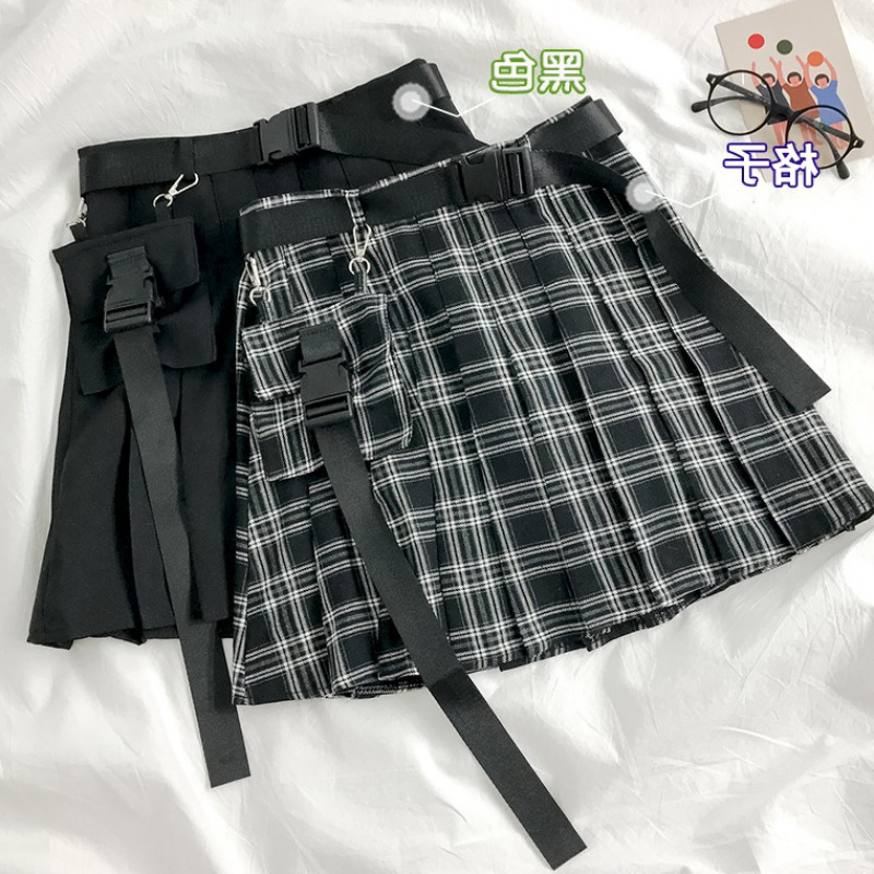 Hong Kong style retro high waist plaid skirt womens Korean new summer student versatile work wear pleated skirt A-line short skirt