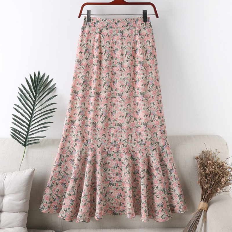 Spring and summer new high waisted Chiffon floral zipper skirt medium length skirt fishtail skirt womens skirt