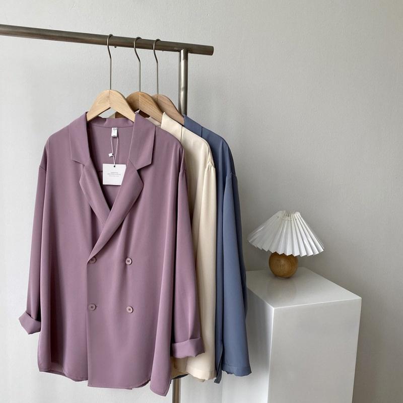 Purple drape feeling Chiffon suit coat for women summer thin design sense small crowd off shoulder loose style suit