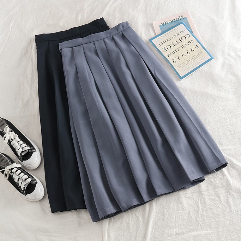 Cute little girl summer new style skirt with French high waist and thin pleated skirt