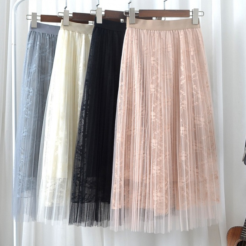 Gauze skirt mesh skirt women summer 2020 new fashion pleated skirt medium length spring and autumn lace vertical skirt
