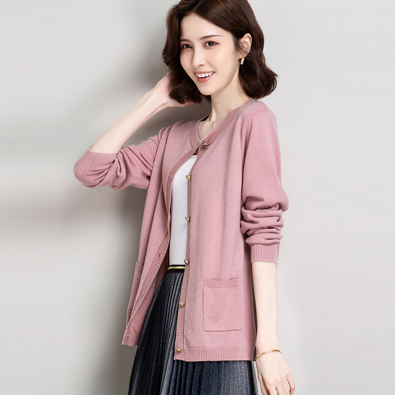 Pure wool knitted cardigan womens new fall 2020 solid color metal button simple fashion versatile long sleeve coat fashion
