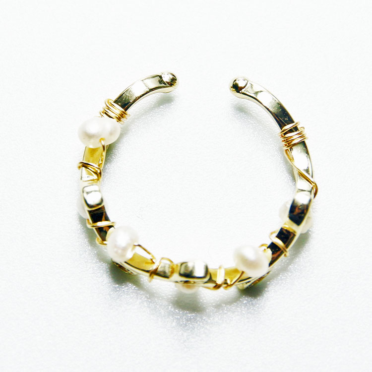 Minority design Korean natural fresh water pearl with diamond leaves opening ring female fashion personality trendy ring