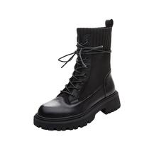 AY011DZ0冬新款机车中筒靴商场同款2020潮ins天美意十孔马丁靴女