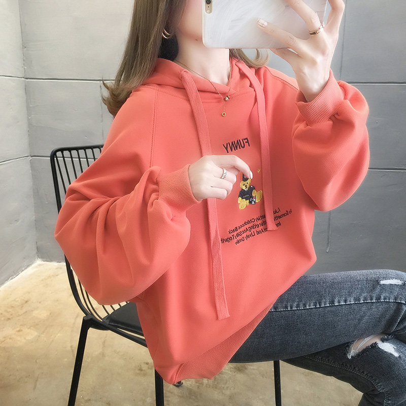 2021 spring new Korean loose cartoon Hoodie womens middle and long student foreign style large size outer top