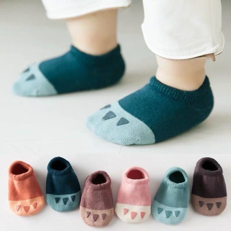 宝宝地板袜防滑底隔凉春秋薄款夏季纯棉一岁婴儿学步防滑船袜子