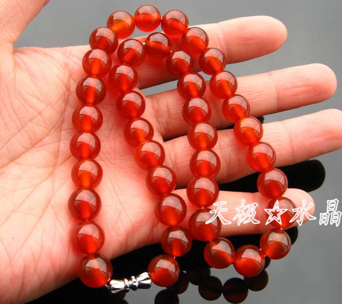 中国润长42cm~可定制长度巴西红玛瑙项链~颜色天极水晶精美天然