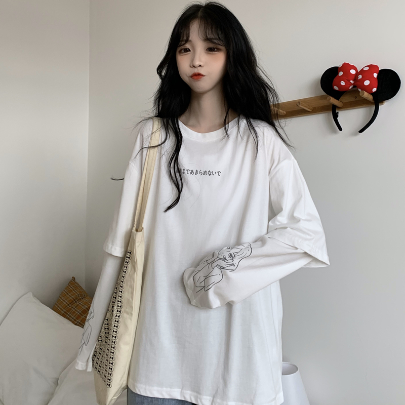 Hong Kong flavor 2020 spring and Autumn New Korean long sleeve T-shirt womens fake two thin loose and versatile middle and long top fashion
