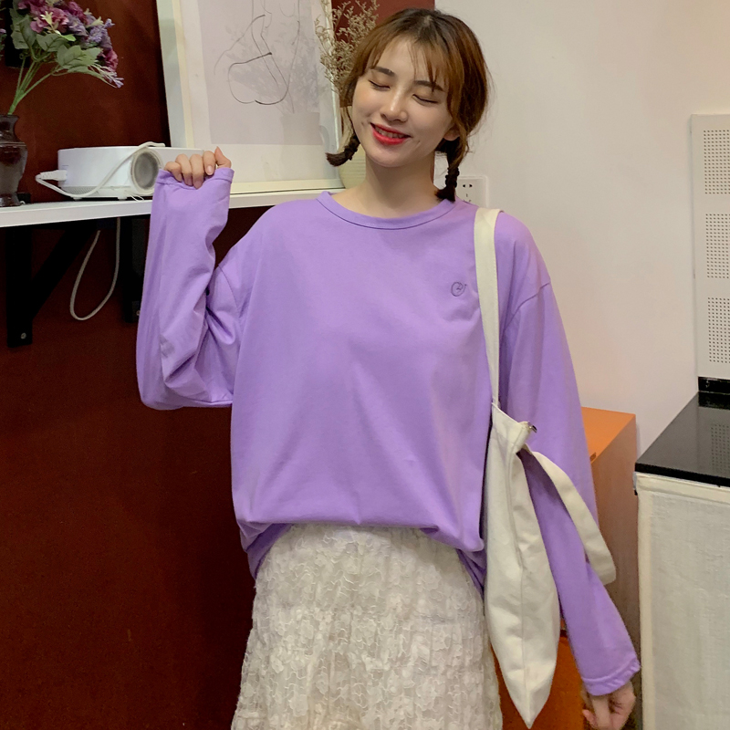 Net red embroidery long sleeve T-shirt for women autumn 2020