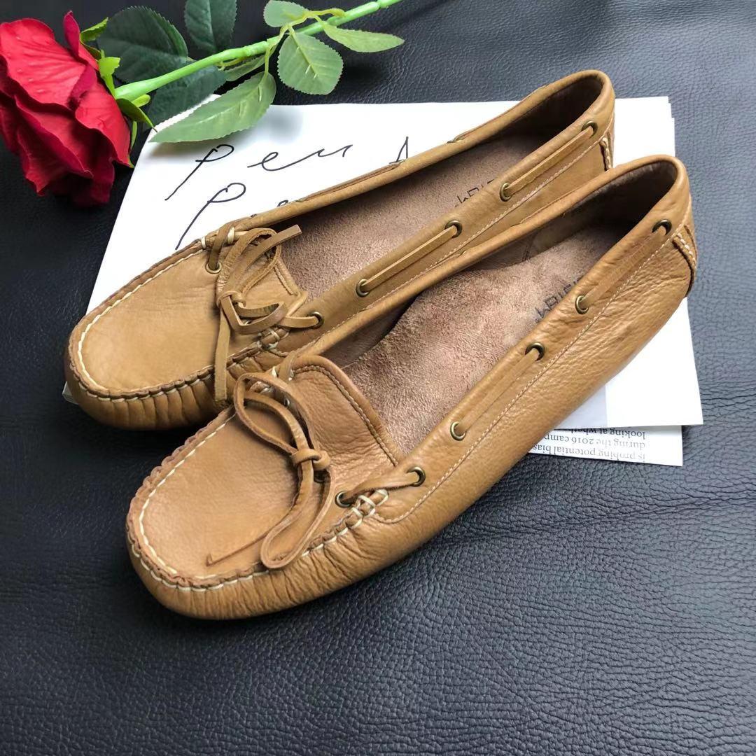 黑珍珠号:外贸真皮大码船鞋 平底浅口女鞋 瑕疵孤品