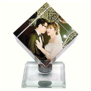 发光摆台婚纱照旋转摆件照片定制魔方相册相框diy纪念册礼物水晶