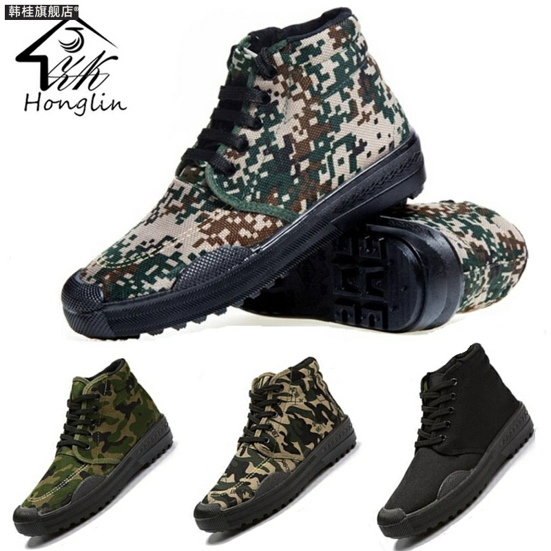 Autumn high top antiskid release shoes mens working canvas as training rubber shoes wear resistant military shoes female camouflage as training shoes