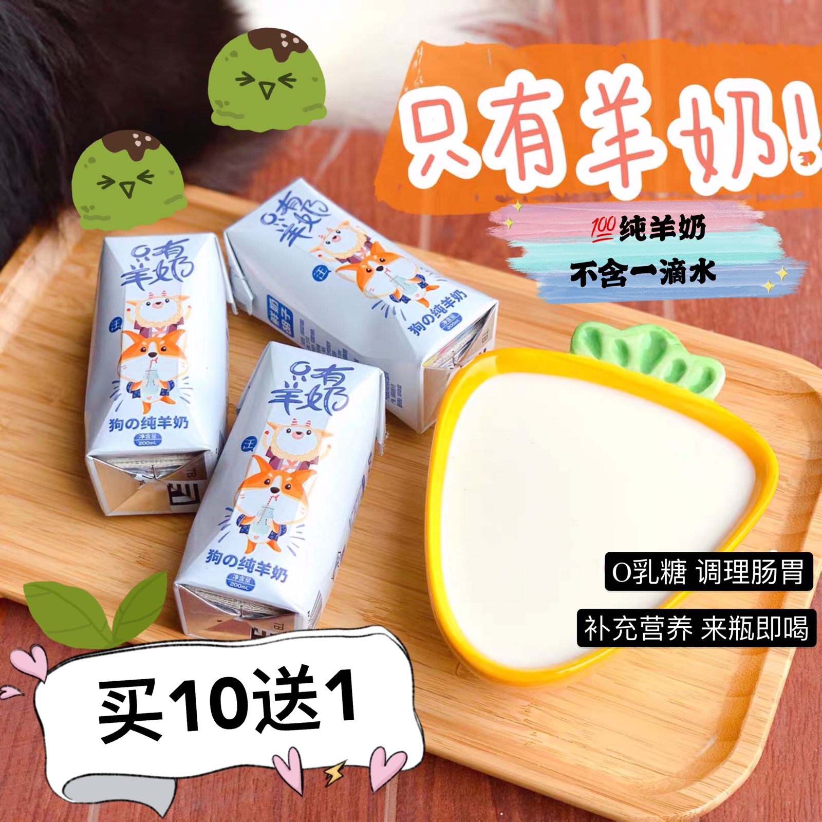 Milk, only moustache, yoghourt, pet milk, 0 lactose, dog snack, beverage, adult dog, pup, ice cream home