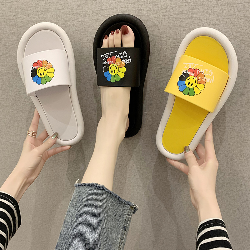 All in one slipper, female xiains, lovely personality, sunflower, t indoor household, non slip, light and durable flat bottom flip flop
