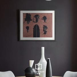 北欧复古中古风红黑配色赭石色琥珀色抽线艺术实木挂画小幅装饰画