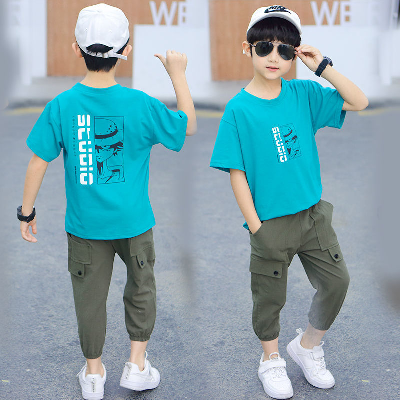 童装男童夏装套装2021新款韩版帅气儿童短袖中大童运动男孩两件套