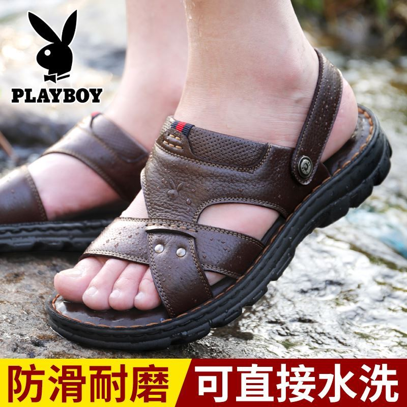 Playboy sports casual mens sandals mens summer beach shoes waterproof, antiskid, deodorant and wear resistant leather in summer
