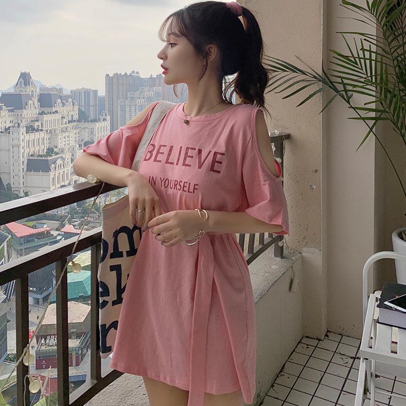 LIDAI例黛 短袖t恤连衣裙女夏季显瘦小众设计感仙女森系露肩裙子