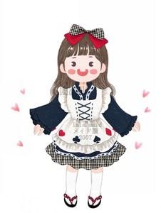 包邮女仆丝丽爱之和风女仆装萌系超值4件W套大袖女仆装