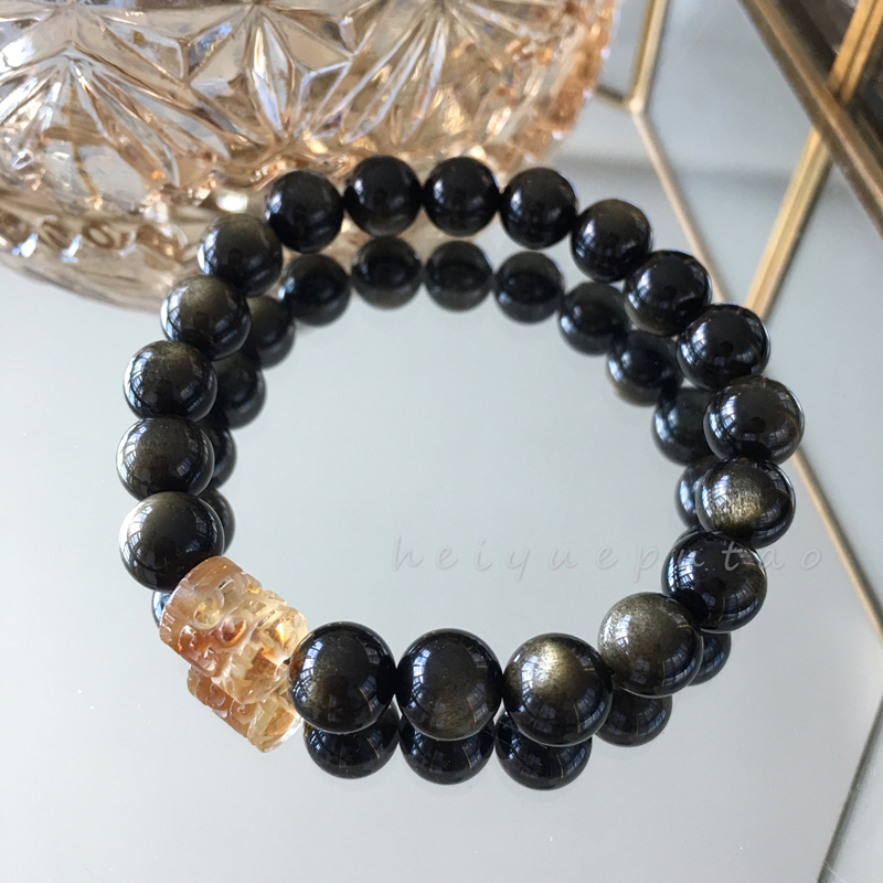 [original work of magic moon] natural crystal bracelet, obsidian, topaz, transfer and fortune attracting hand string jewelry
