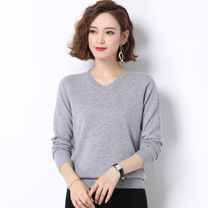 Woolen sweater womens new autumn / winter 2020 thin pure wool knitted bottom sweater V-neck Pullover Sweater for women
