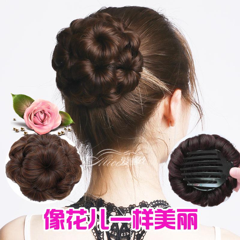 Nine flowers hair Baotou flower etiquette pan head curl head flower upgrade with drill grip wig female ball head curler